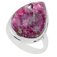 15.47cts natural purple lepidolite pear 925 silver solitaire ring size 9 t1497