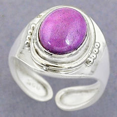 3.62cts natural purple phosphosiderite 925 silver adjustable ring size 5 t8719