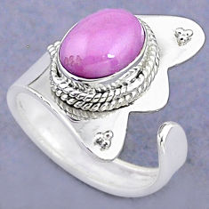 3.98cts natural purple phosphosiderite 925 silver adjustable ring size 7 t8711