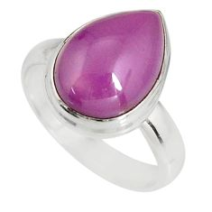 6.04cts natural purple phosphosiderite 925 silver solitaire ring size 7.5 r19381