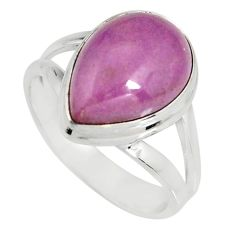 6.04cts natural purple phosphosiderite 925 silver solitaire ring size 7.5 r19383