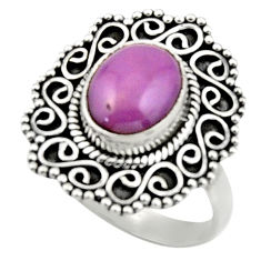 4.43cts natural purple phosphosiderite 925 silver solitaire ring size 7.5 r52633