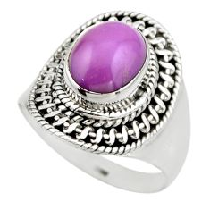 4.17cts natural purple phosphosiderite 925 silver solitaire ring size 7.5 r53313