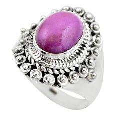 4.46cts natural purple phosphosiderite 925 silver solitaire ring size 6.5 r53315