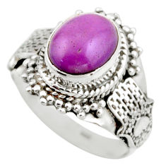 4.37cts natural purple phosphosiderite 925 silver solitaire ring size 6.5 r53316