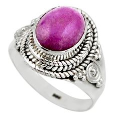 4.22cts natural purple phosphosiderite 925 silver solitaire ring size 6.5 r53317