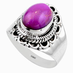 4.47cts natural purple phosphosiderite 925 silver solitaire ring size 6.5 r53319