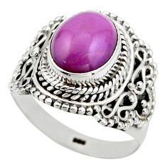 4.20cts natural purple phosphosiderite 925 silver solitaire ring size 6.5 r53320