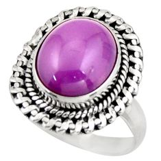 5.52cts natural purple phosphosiderite 925 silver solitaire ring size 7 d46342