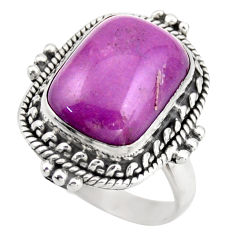 5.24cts natural purple phosphosiderite 925 silver solitaire ring size 7 d46353