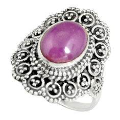4.38cts natural purple phosphosiderite 925 silver solitaire ring size 7 r19489