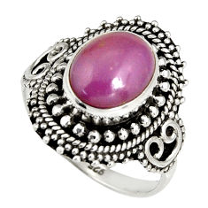 4.28cts natural purple phosphosiderite 925 silver solitaire ring size 7 r19494