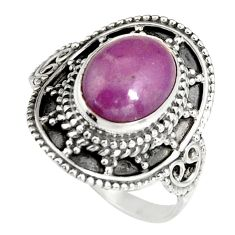 4.51cts natural purple phosphosiderite 925 silver solitaire ring size 7 r19495