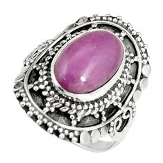 4.65cts natural purple phosphosiderite 925 silver solitaire ring size 7 r19496