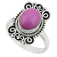 4.10cts natural purple phosphosiderite 925 silver solitaire ring size 7 r52623
