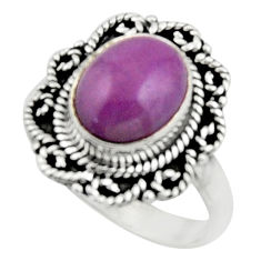 4.11cts natural purple phosphosiderite 925 silver solitaire ring size 7 r52629