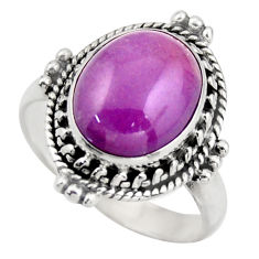 5.75cts natural purple phosphosiderite 925 silver solitaire ring size 8 d46345