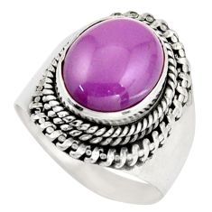 4.98cts natural purple phosphosiderite 925 silver solitaire ring size 8 d46358
