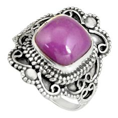 5.53cts natural purple phosphosiderite 925 silver solitaire ring size 8 r19483