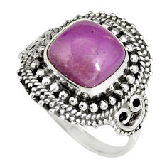 5.52cts natural purple phosphosiderite 925 silver solitaire ring size 9 r19485