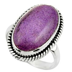 11.84cts natural purple purpurite 925 silver solitaire ring size 8.5 r28568