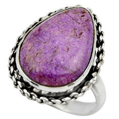 14.52cts natural purple purpurite 925 silver solitaire ring size 9.5 r28577