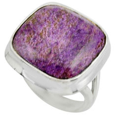 14.43cts natural purple purpurite 925 silver solitaire ring size 6.5 r28580