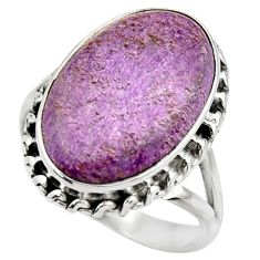 14.12cts natural purple purpurite 925 silver solitaire ring size 10 r28583