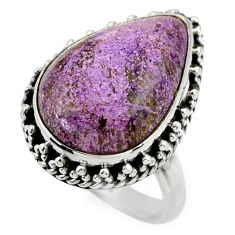 13.98cts natural purple purpurite 925 silver solitaire ring size 7 r28562