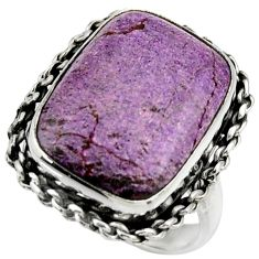 13.39cts natural purple purpurite 925 silver solitaire ring size 7 r28565