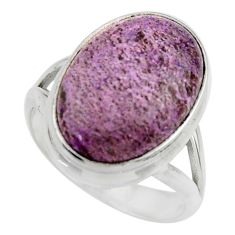 10.25cts natural purple purpurite 925 silver solitaire ring size 8 r28597