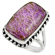 15.03cts natural purple purpurite 925 silver solitaire ring size 9 r28563