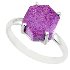 4.91cts natural purple purpurite stichtite silver solitaire ring size 9 r81948