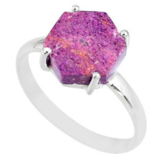 4.22cts natural purple purpurite stichtite silver solitaire ring size 9 r82042