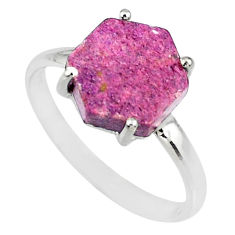 4.57cts natural purple purpurite stichtite silver solitaire ring size 9 r82043
