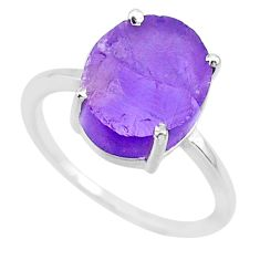 5.81cts natural purple raw amethyst rough 925 sterling silver ring size 7 r88903