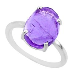 4.49cts natural purple raw amethyst rough 925 sterling silver ring size 7 r88915
