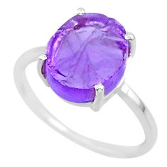 5.70cts natural purple raw amethyst rough 925 sterling silver ring size 8 r88905
