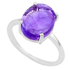 5.42cts natural purple raw amethyst rough 925 sterling silver ring size 8 r88906