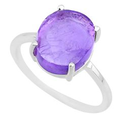 5.03cts natural purple raw amethyst rough 925 sterling silver ring size 8 r88914
