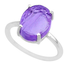 5.15cts natural purple raw amethyst rough 925 sterling silver ring size 8 r88919