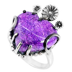 11.74cts natural purple stichtite 925 silver heart ring size 7 r67528