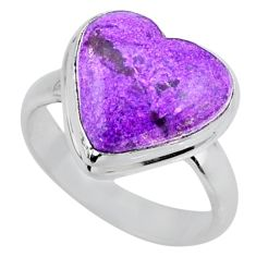 9.72cts natural purple stichtite 925 silver solitaire ring jewelry size 7 r63556