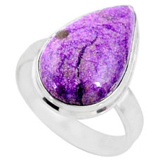 9.49cts natural purple stichtite 925 silver solitaire ring jewelry size 8 r66328