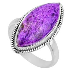 12.58cts natural purple stichtite 925 silver solitaire ring size 8.5 r63541