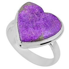 10.05cts natural purple stichtite 925 silver solitaire ring size 7.5 r63561