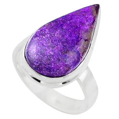 12.62cts natural purple stichtite 925 silver solitaire ring size 6.5 r66153