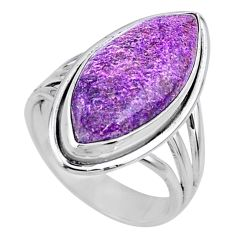 13.13cts natural purple stichtite 925 silver solitaire ring size 7 r63571