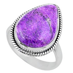 12.58cts natural purple stichtite 925 silver solitaire ring size 8 r63542