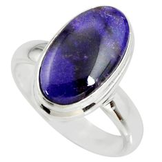 5.83cts natural purple sugilite 925 silver solitaire ring jewelry size 7 r34394